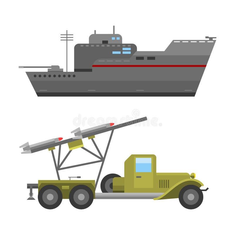 Collection de combat de vecteur de la défense d'armure de technique d'industrie de technique d'armée de transport militaire de gu illustration libre de droits