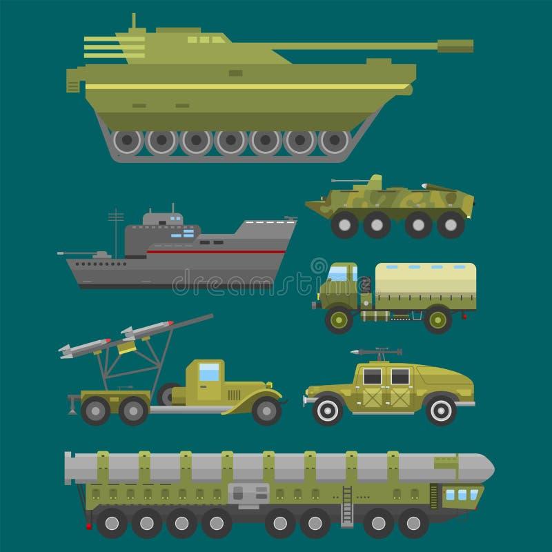 Collection de combat de vecteur de la défense d'armure de technique d'industrie de technique d'armée de transport militaire de gu illustration de vecteur