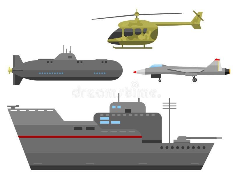 Collection de combat de vecteur de la défense d'armure de technique d'industrie de technique d'armée de transport militaire de gu illustration stock