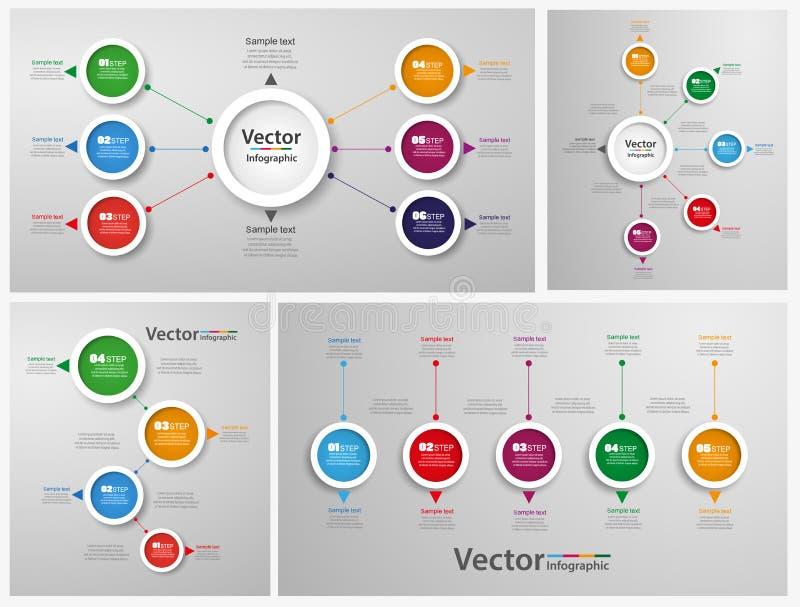 Collection de conception abstraite colorée d'Infographic illustration de vecteur