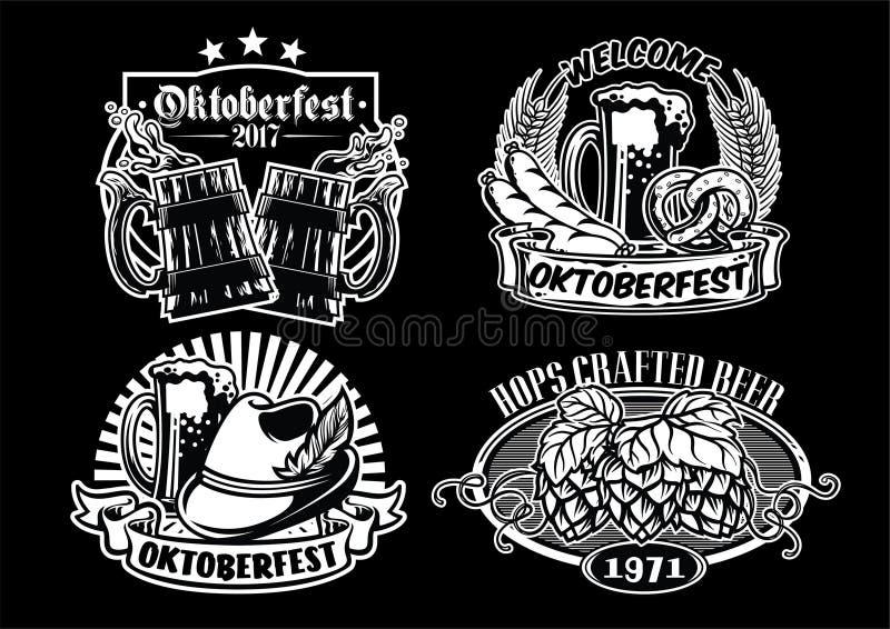 Collection de conception d'insigne d'Oktoberfest en noir et blanc illustration stock