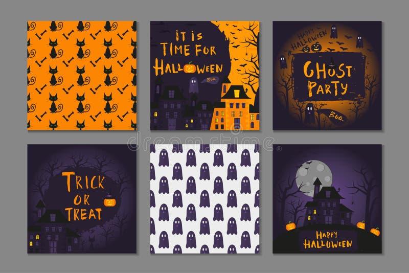 Collection de conception heureuse d'affiche de 6 Halloween avec des symboles traditionnels illustration libre de droits