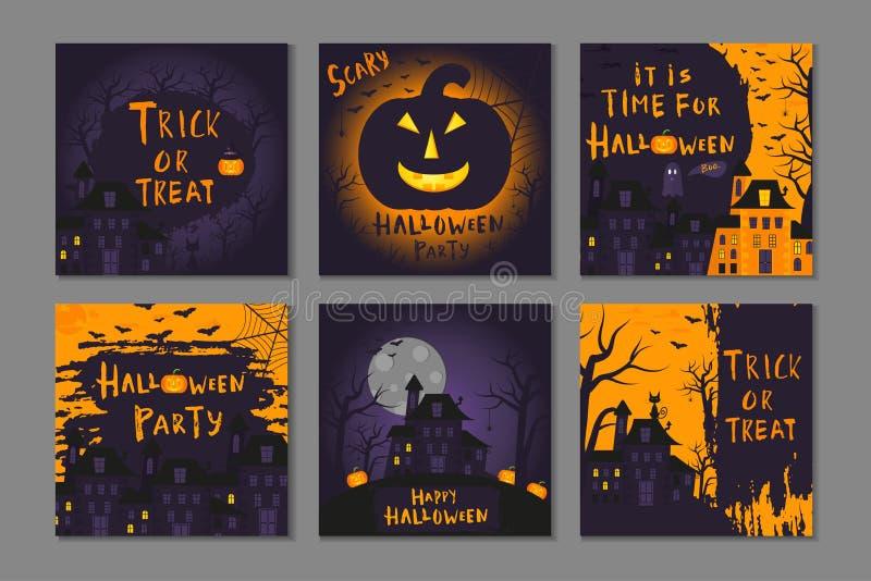 Collection de conception heureuse d'affiche de 6 Halloween avec des symboles traditionnels illustration stock