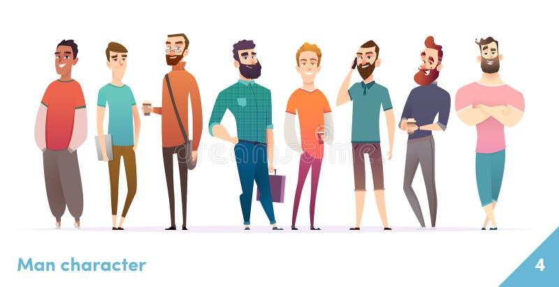 Collection de conception de personnages de personnes Style plat de bande dessinée moderne Les mâles ou les manegers se tiennent e illustration de vecteur