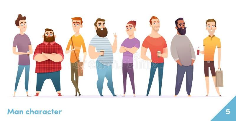 Collection de conception de personnages de personnes Style plat de bande dessinée moderne Les mâles ou les manegers se tiennent e illustration libre de droits