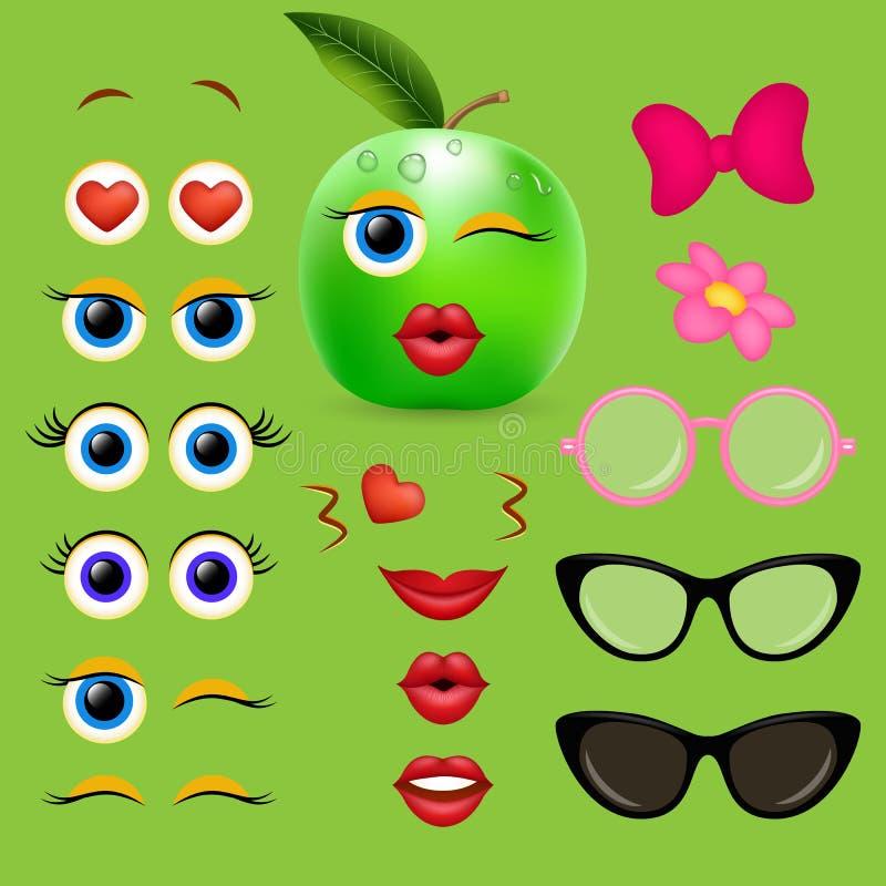 Collection de conception de vecteur de créateur d'emoji de fille d'Apple illustration de vecteur