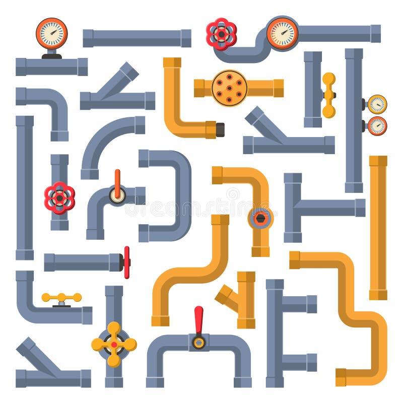Collection de construction et de pétrole de clapet à gaz d'industrie de tube de l'eau industriels illustration stock