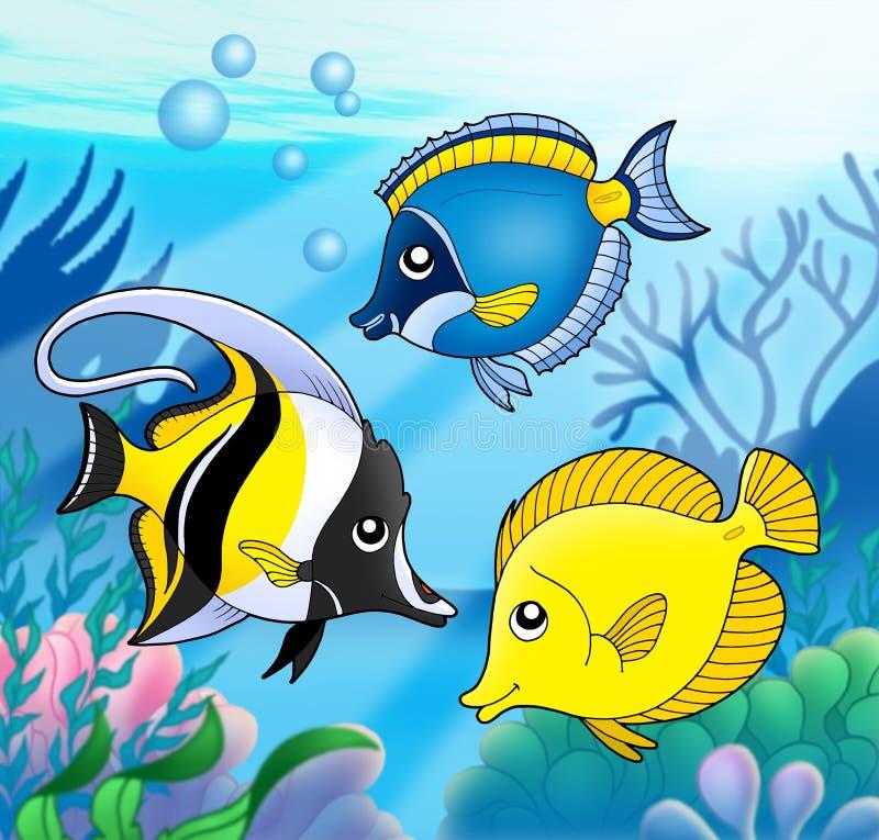 Collection de corail de poissons en mer illustration stock