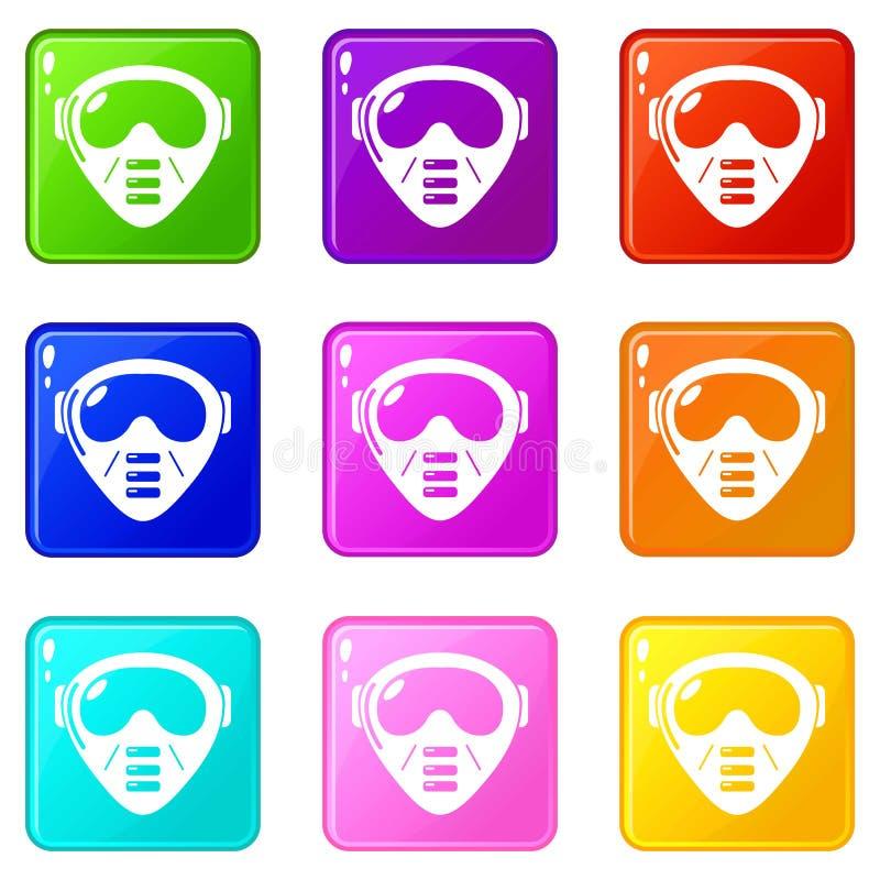 Collection de couleur de l'ensemble 9 d'icônes d'équipement de masque de Paintball illustration libre de droits