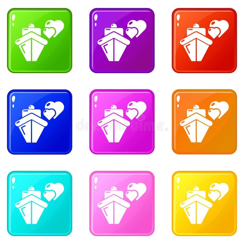Collection de couleur de l'ensemble 9 d'icônes de voyage de lune de miel de voyage de voyage illustration de vecteur