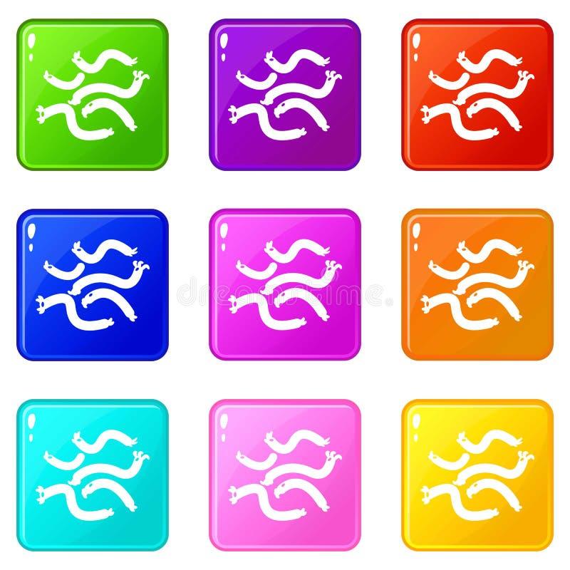 Collection de couleur de l'ensemble 9 d'ic?nes de virus d'Escherichia coli illustration stock