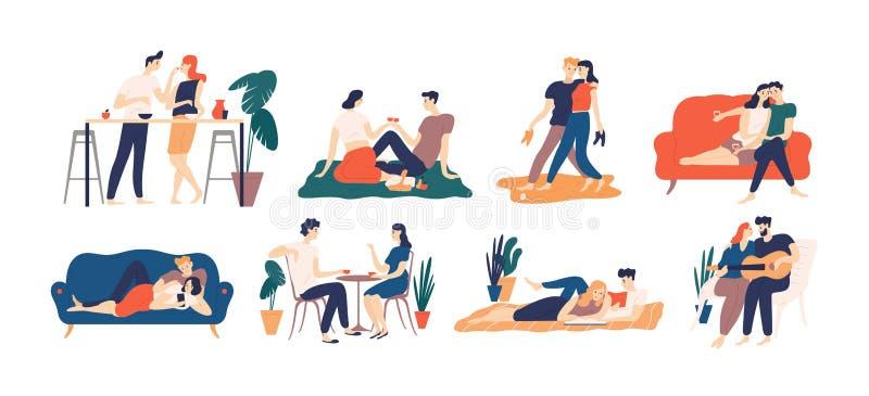 Collection de couples romantiques passant le temps ou détendant ensemble - avoir le pique-nique, les livres de lecture, le café p illustration de vecteur