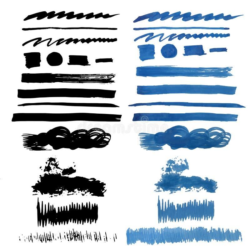 Collection de course de brosse Course grunge de brosse Course de brosse de vecteur Course affligée de brosse Rappe noire de balai illustration libre de droits