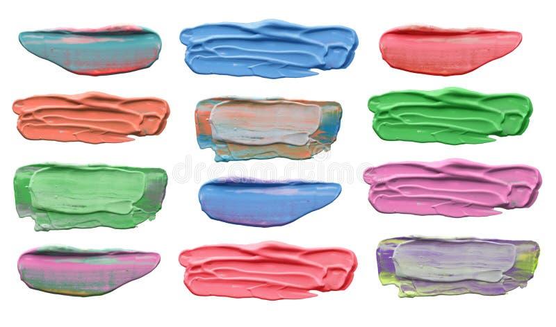 Collection de courses acryliques abstraites de brosse image stock