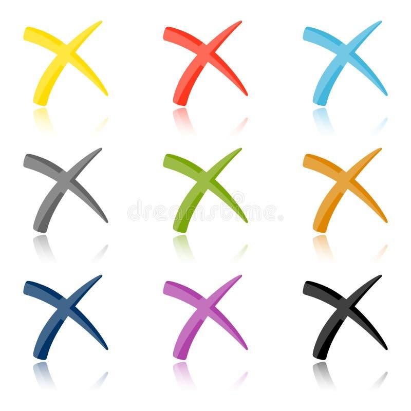 Collection de croix colorées illustration de vecteur