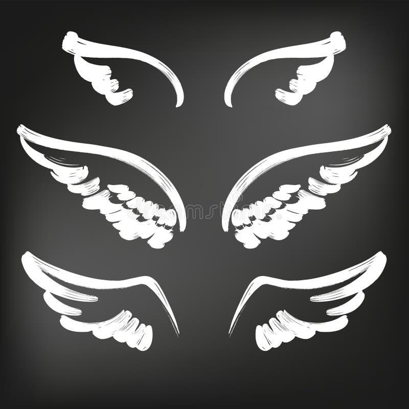 Collection de croquis d'icône d'ailes d'ange, illustration tirée de vecteur d'ailes de croquis d'ensemble d'icône de cartoonhand  illustration de vecteur