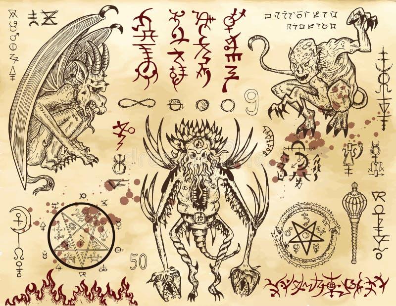 Collection de démon avec des symboles mystiques et occultes illustration stock