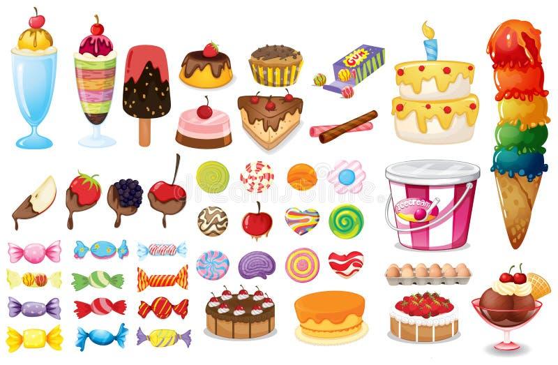Collection de dessert illustration de vecteur