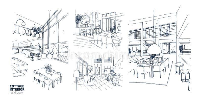 Collection de dessins monochromes des intérieurs de cottage d'été complètement des meubles élégants Paquet de main de salles de m illustration de vecteur
