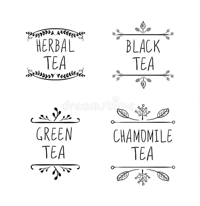 Collection de dessins de VECTEUR de logo de thé, lignes noires d'isolement sur le fond blanc, labels de thé illustration stock