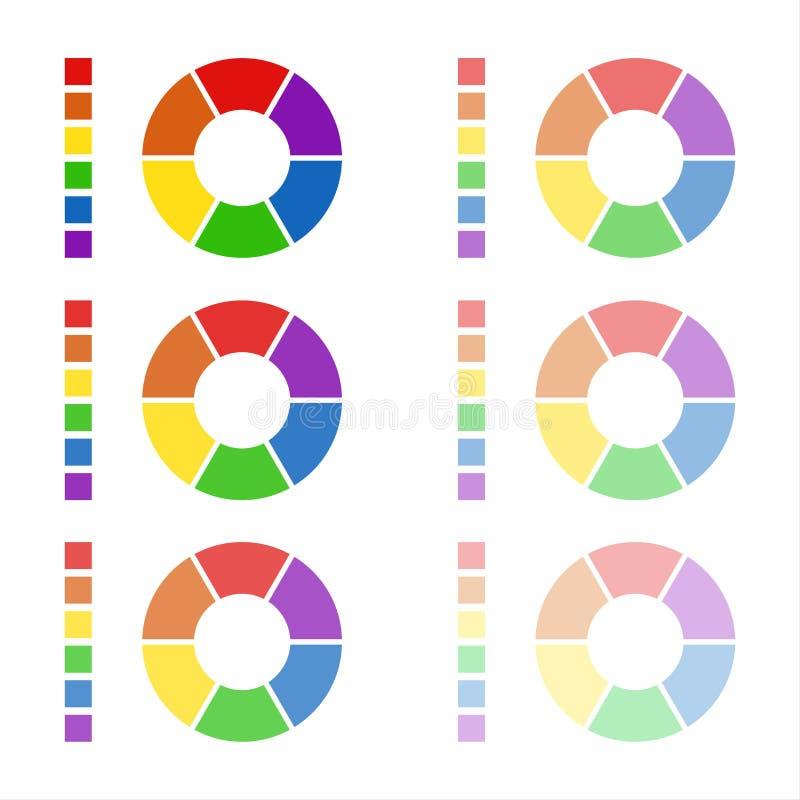 Collection de diagrammes arrondis avec les couleurs spectrales illustration libre de droits