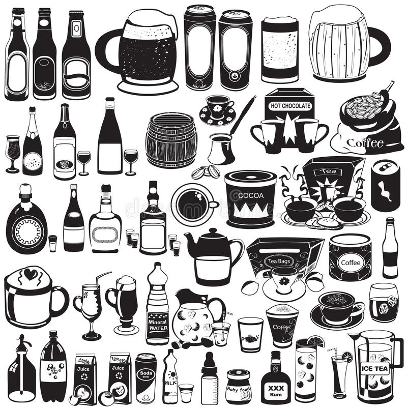 Collection de différentes boissons illustration stock
