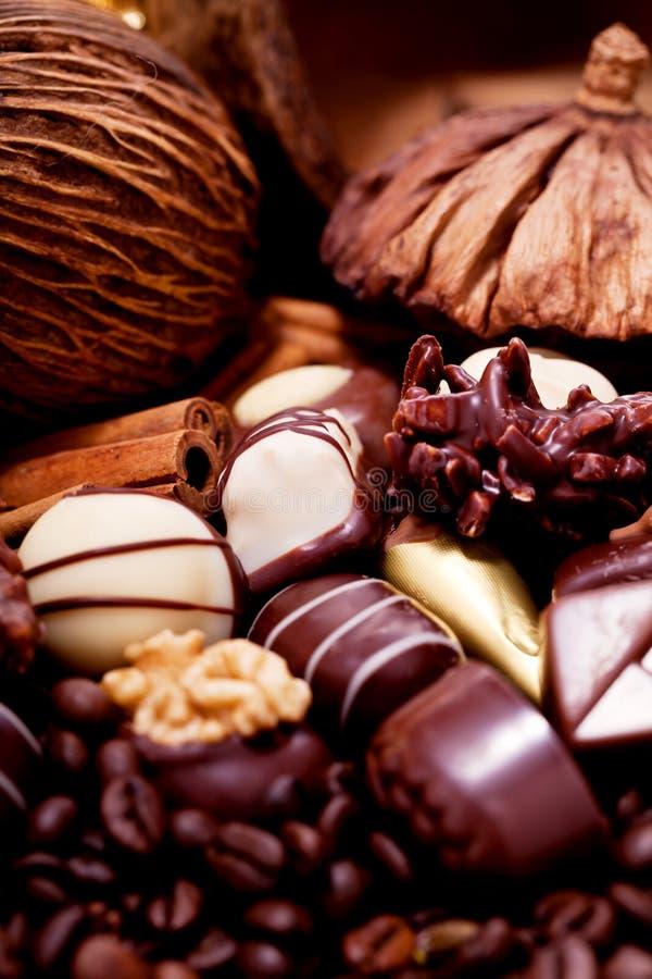 Collection de différentes pralines de chocolat sucré photographie stock