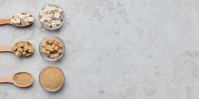 Collection de différents genres de sucre sur le fond gris photos libres de droits