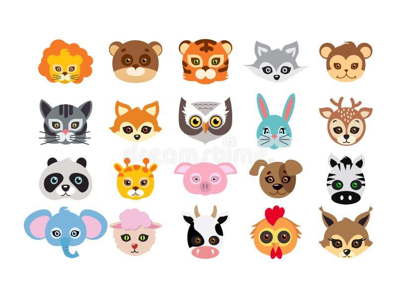 Collection de différents masques animaux sur des visages illustration de vecteur