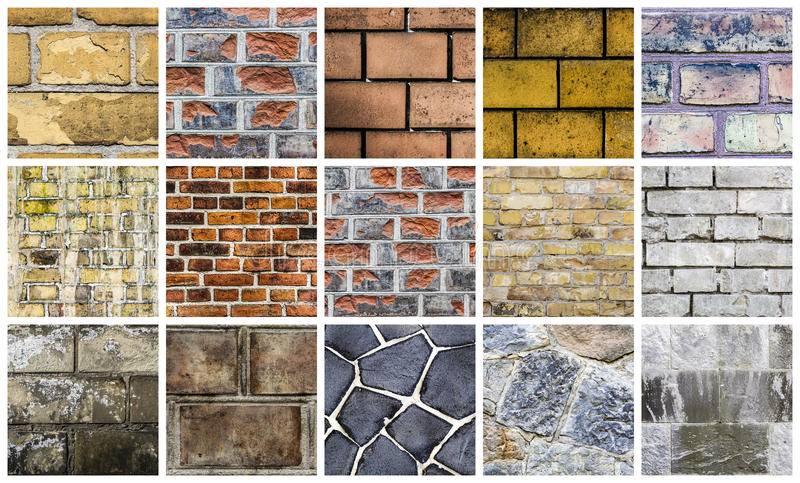 Collection de différents milieux de pierre et de mur photo stock