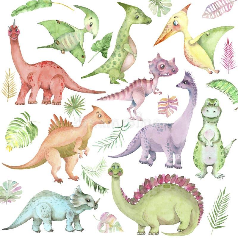 Collection de dinosaures d'aquarelle illustration libre de droits