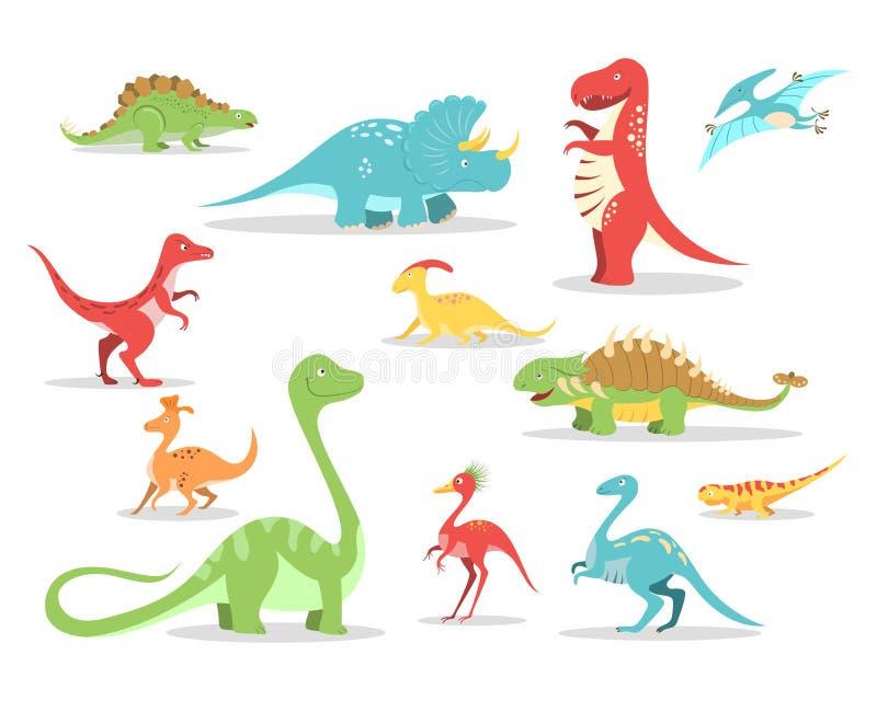 Collection de dinosaures de style de bande dessinée illustration de vecteur