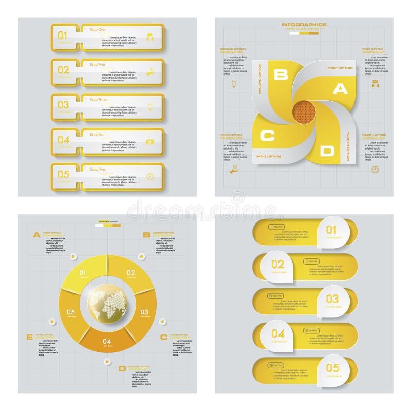 Collection de 4 dispositions jaunes de calibre/graphique ou de site Web de couleur Fond de vecteur illustration de vecteur