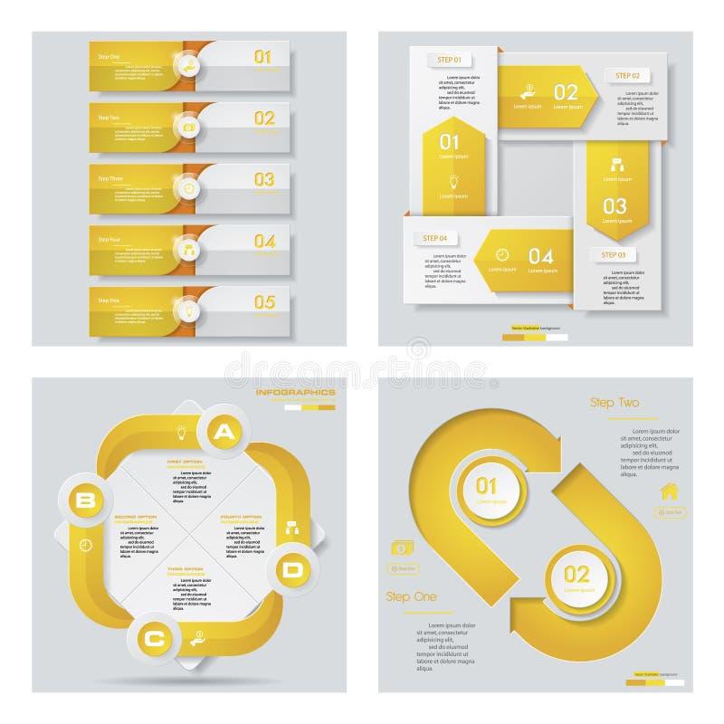 Collection de 4 dispositions jaunes de calibre/graphique ou de site Web de couleur Fond de vecteur illustration stock