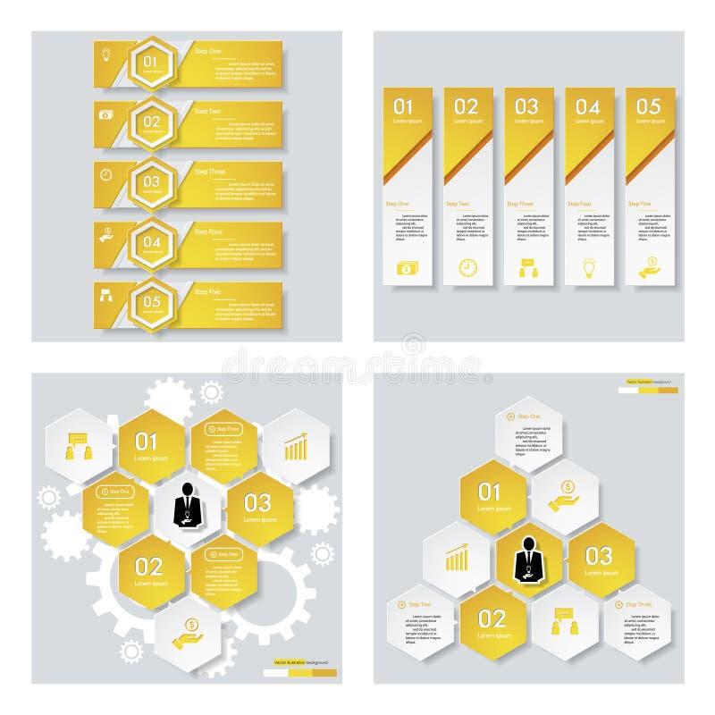 Download Collection De 4 Dispositions Jaunes De Calibre/graphique Ou De Site Web De Couleur Fond De Vecteur Illustration de Vecteur - Illustration du propre, navigation: 76081406