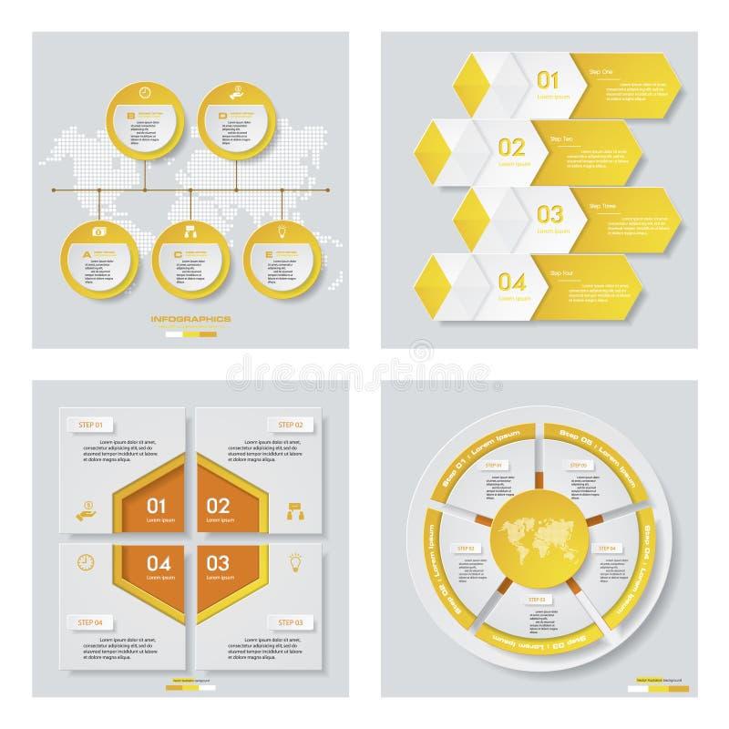 Download Collection De 4 Dispositions Jaunes De Calibre/graphique Ou De Site Web De Couleur Fond De Vecteur Illustration de Vecteur - Illustration du affaires, numéro: 76081631