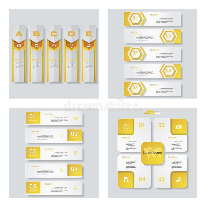 Collection de 4 dispositions jaunes de calibre/graphique ou de site Web de couleur Fond de vecteur illustration libre de droits