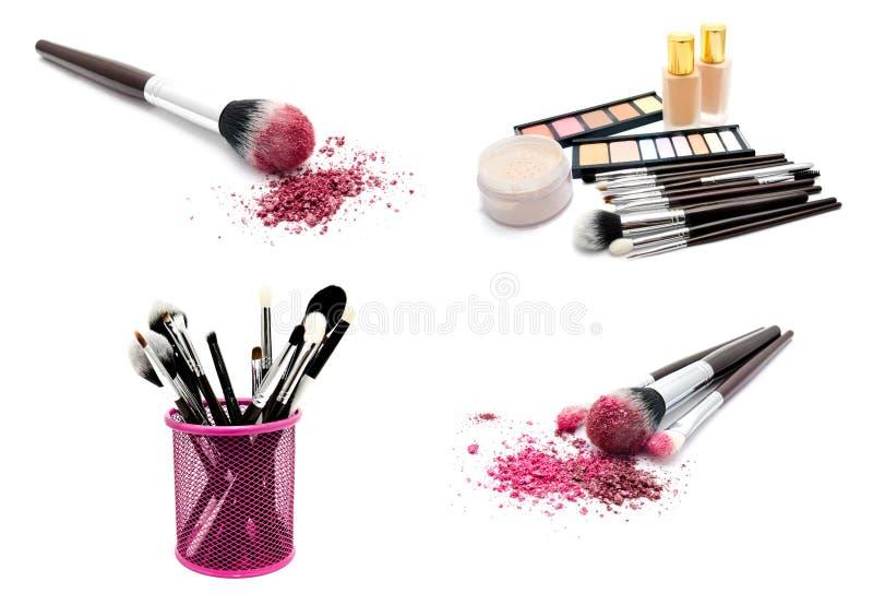 Collection de divers ensemble de photos de brosses de maquillage et cosmétiques et palette professionnels des fards à paupières c photo stock