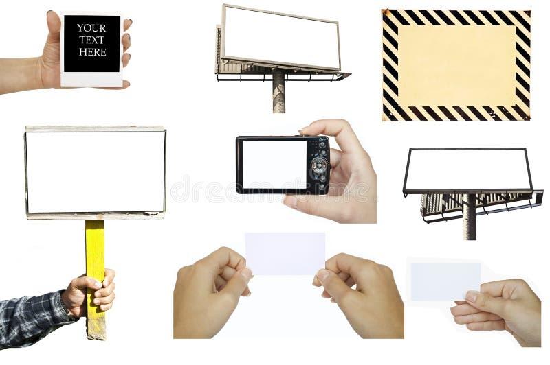 Collection de diverse main tenant les objets vides : carte de visite professionnelle de visite - panneau d'affichage - appareil p image libre de droits