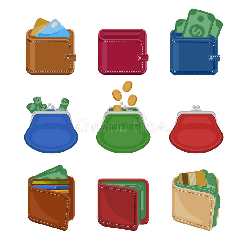 Collection de diverses bourses et de portefeuilles ouverts et fermés avec l'argent, argent liquide, pièces d'or, cartes de crédit illustration stock