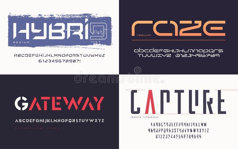 Collection de diverses polices de vecteur à la mode, oeil d'un caractère, alphabets illustration stock
