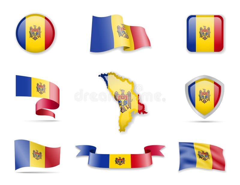 Collection de drapeaux de Moldau L'illustration de vecteur a plac illustration libre de droits