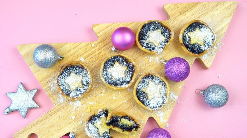 Collection de fête de nourriture traditionnelle de vacances de Noël de style anglais photographie stock libre de droits