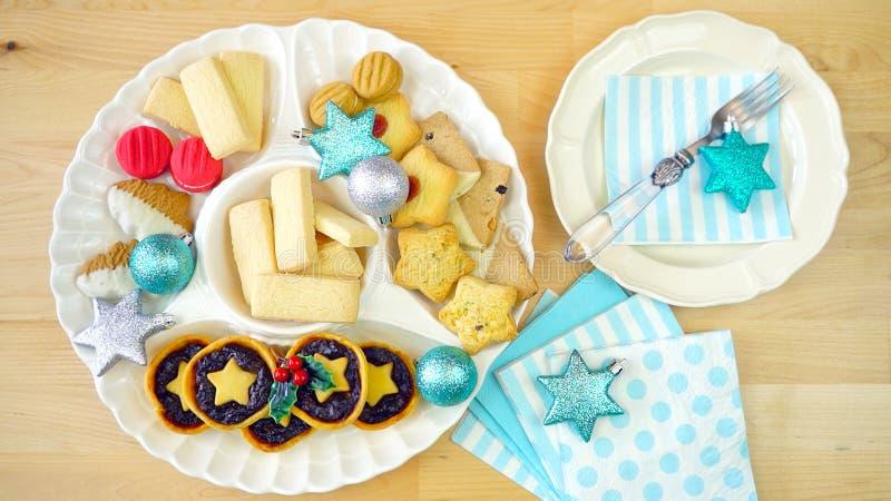 Collection de fête de nourriture traditionnelle de vacances de Noël de style anglais photo libre de droits