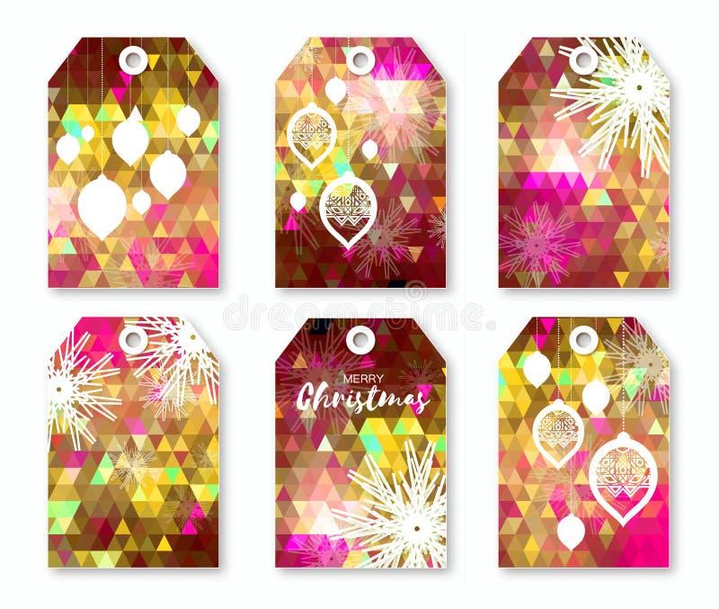 Collection de fête polygonale rose de labels de Noël avec des flocons de neige illustration libre de droits