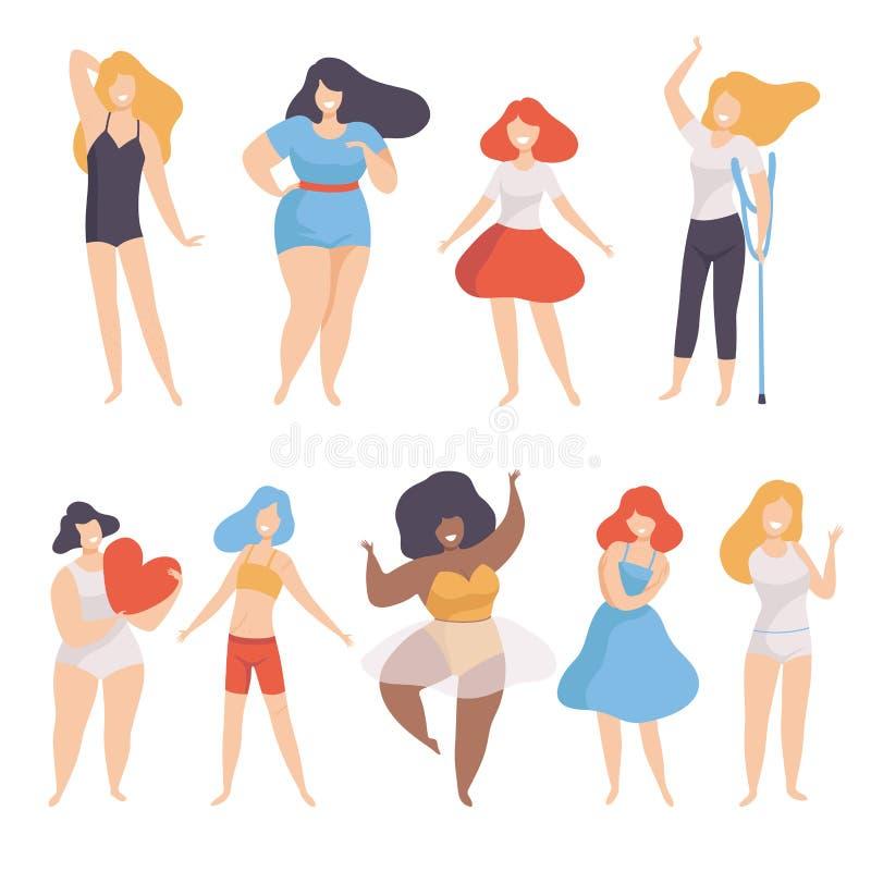 Collection de femmes de type et taille différente de figure, positif de corps, acceptation d'individu et concept de diversité de  illustration de vecteur