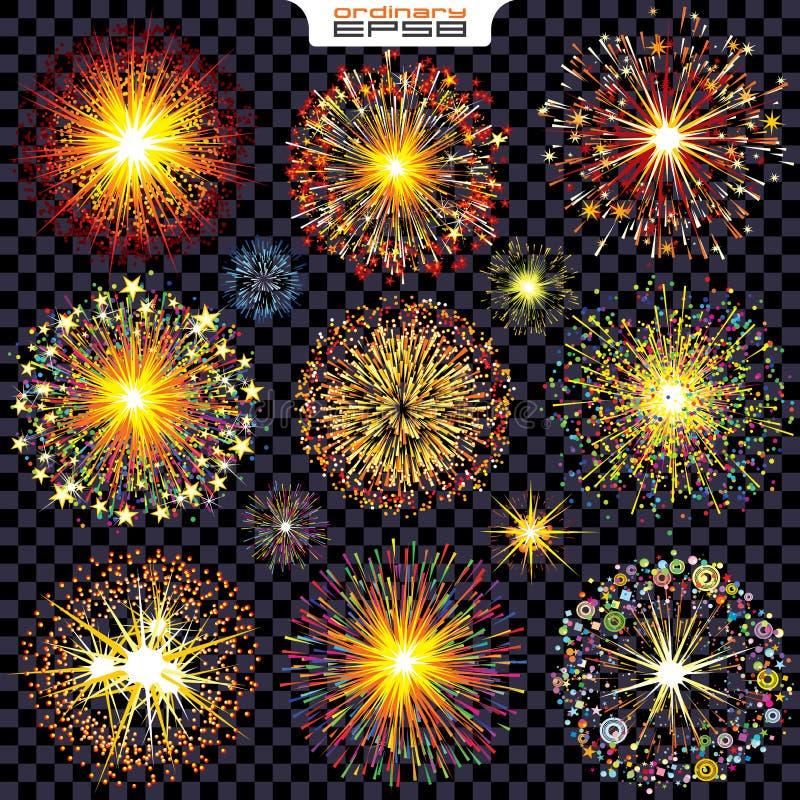 Collection de feux d'artifice d'isolement, étincelles, explosions illustration libre de droits
