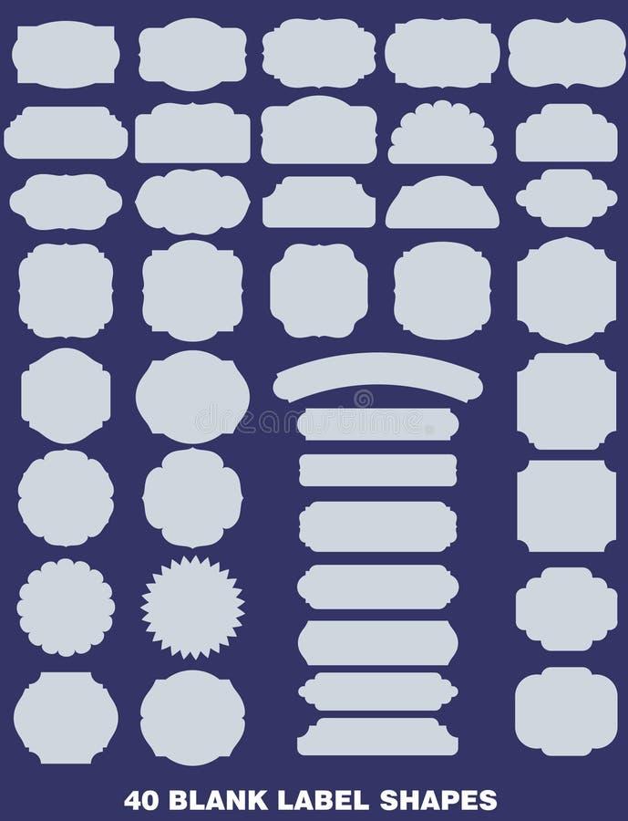 Collection de 40 formes en blanc de label illustration de vecteur