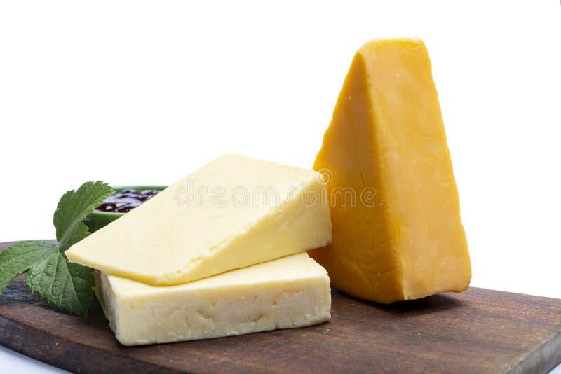 Collection de fromage de cheddar, variété de fromage de cheddar faite à partir du lait de vache image libre de droits