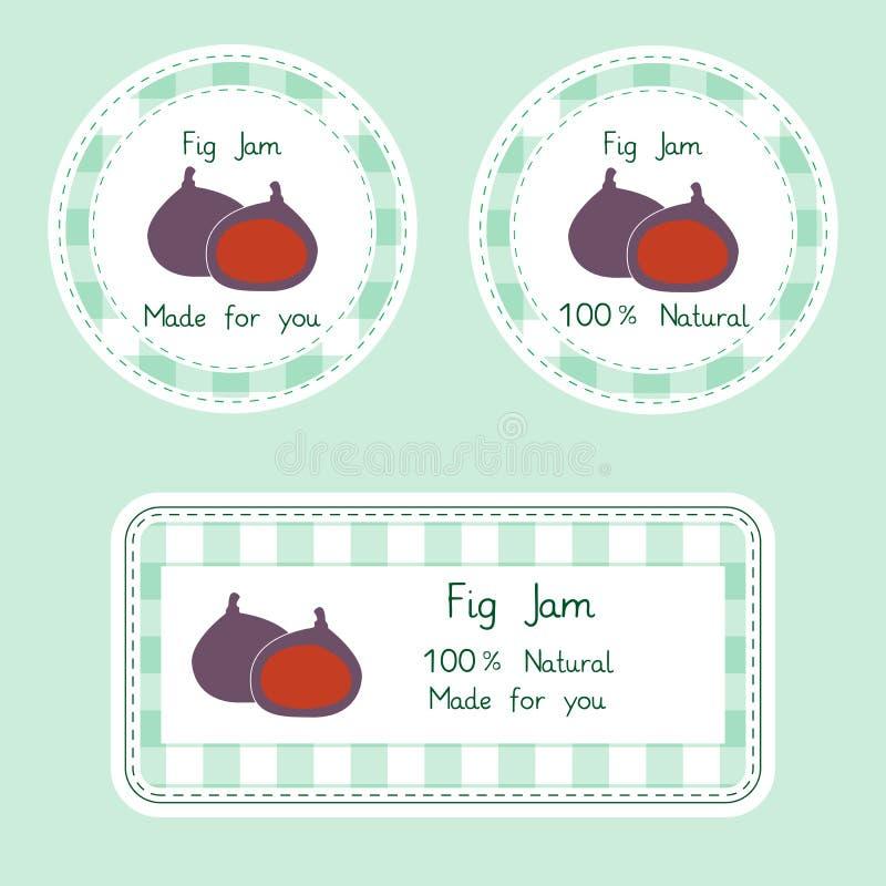 Collection de fruit pour la conception Les labels pour la figue naturelle faite maison bloquent dans la couleur verte et violette illustration de vecteur